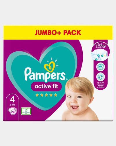 Pampers Active Fit Size 4 Jumbo Nappies - Pack Of 60 thumbnail