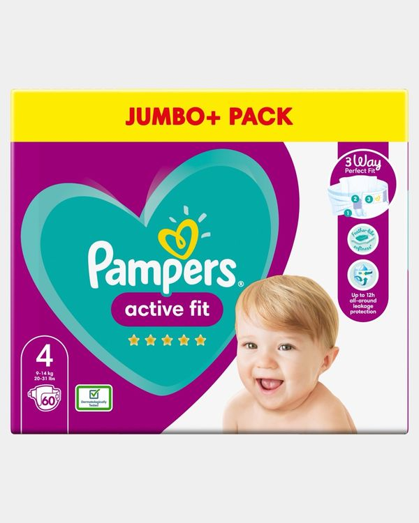 Pampers Active Fit Size 4 Jumbo Nappies - Pack Of 60