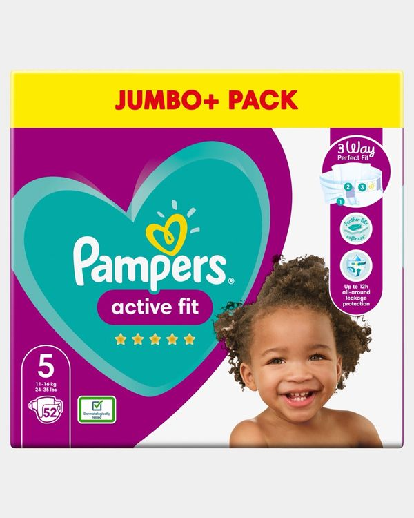 Pampers Active Fit Size 5 Jumbo Nappies - Pack Of 52