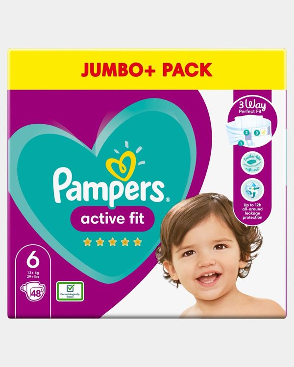 Pampers Active Fit Size 6 Jumbo Nappies - Pack Of 48