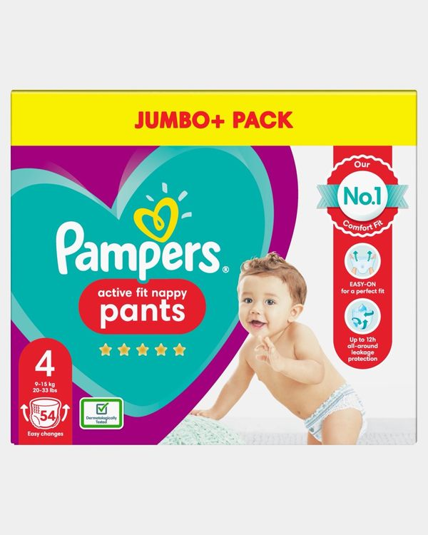 Pampers Active Fit Pants Size 4 Jumbo Nappies - Pack Of 54
