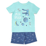 blue Toddler Croc Shorts and T-Shirt