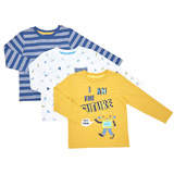 ochre Toddler Robot Long-Sleeved Tops - Pack Of 3