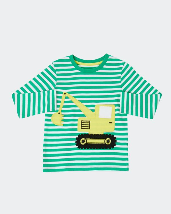Digger Stripe Long-Sleeved Applique Top (0 months - 4 years)