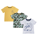 khaki Toddler Dino T-Shirts - Pack Of 3