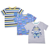 blue Toddler Monster T-Shirts - Pack Of 3