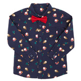 navy Toddler Christmas Shirt And Bow