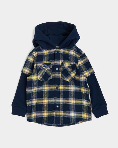 Jersey Hooded Check Shirt (6 months-4 years)