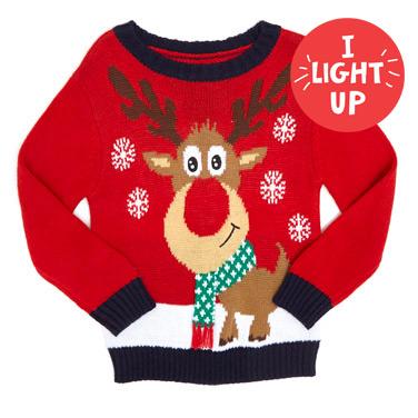 redToddler Light Up Reindeer Xmas Jumper