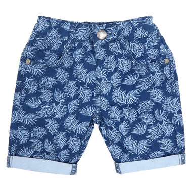 navy Toddler Leaf Twill Shorts