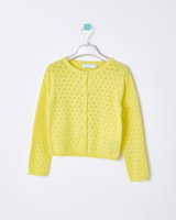 yellow Leigh Tucker Willow Bea All Over Pointelle Cardigan