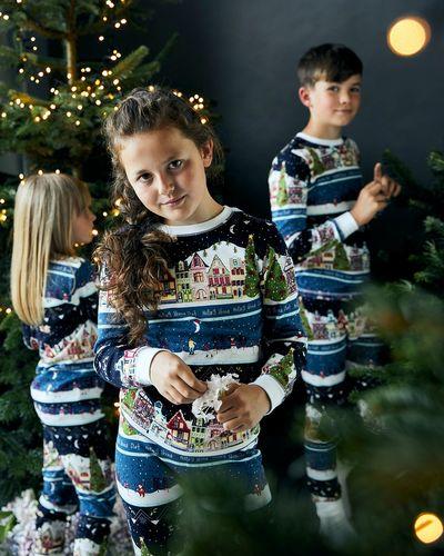 Leigh Tucker Willow Cotton Rib Apres Ski Kids Christmas Pyjamas (1-14 years)