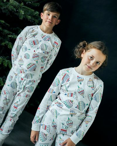 Leigh Tucker Willow Cotton Rib Jingle Kids Christmas Pyjamas (1-14 years)