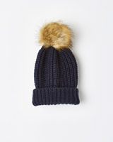 navy Leigh Tucker Willow Lorrie Beanie With Fur Bobble