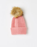 pink Leigh Tucker Willow Lorrie Beanie With Fur Bobble