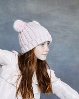 pink Leigh Tucker Willow Macey Double Bobble Beanie