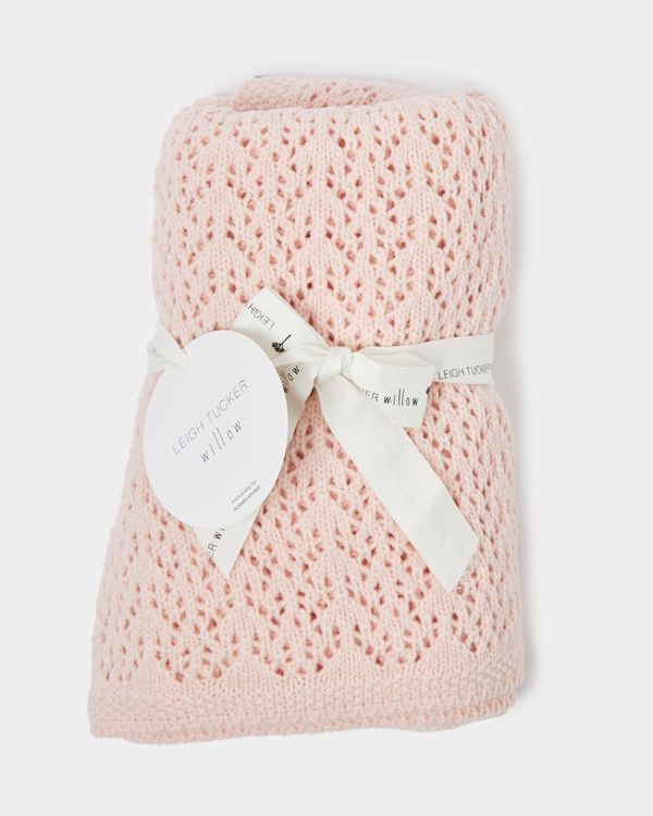 Leigh Tucker Willow Pink Broderie Blanket