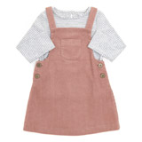 pink Toddler Two Piece Corduroy Pinny And Top Set