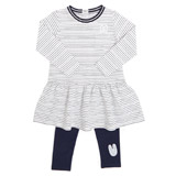navy Toddler Stripe Dress And Legging Set
