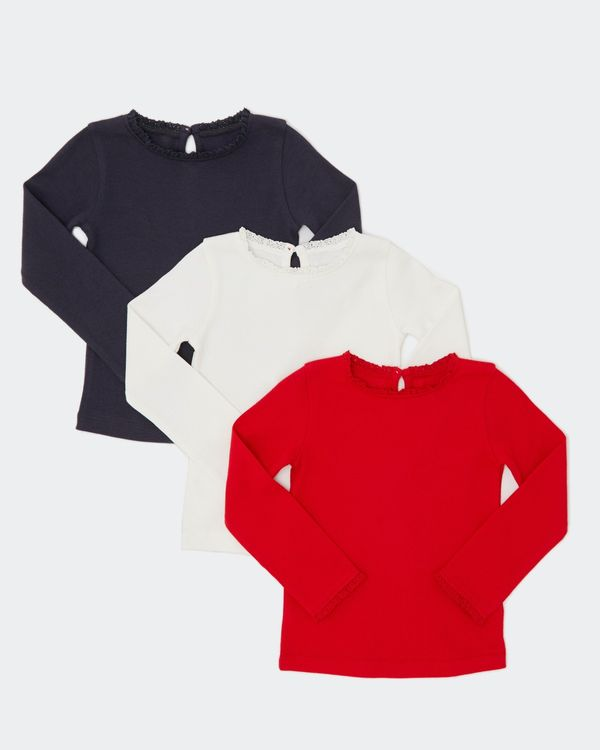Lace Trim Tops - Pack Of 3 (6 Months-4 Years)