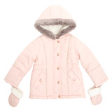 pink Toddler Quilted Jacket With Fur Trims