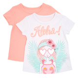 coral Toddler Aloha Girl Print T-Shirt - Pack Of 2