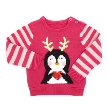 pinkToddler Penguin Jumper