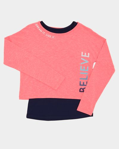 Girls Long-Sleeved Two-fer Top (4-14 years)