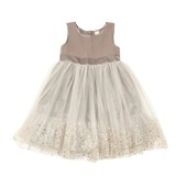 brown Younger Girls Chiffon And Sequin Net Dress