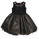 black Younger Girls Black And Gold Brocade Net Dress