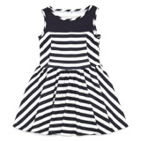 navy Younger Girls Striped Dress