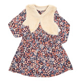 print Younger Girls Two Piece Dress And Gilet Set