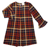 navy Younger Girls Check Ponte Dress