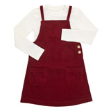 wine Younger Girls Two Piece Cord Pinny And Top Set