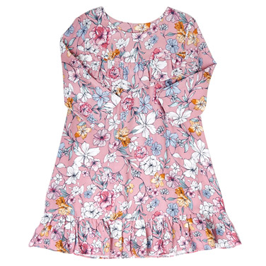 pink Younger Girls Printed Ruffle Dress
