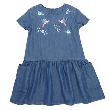denim Younger Girls Embroidered Tencel Dress