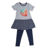 navy Younger Girls Print Sequin Set