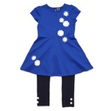 blue Younger Girls Daisy Dress And Leggings Set