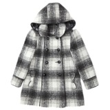 black Younger Girls Checked Hood Coat