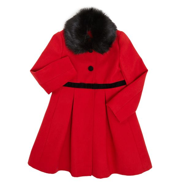 Younger Girls Red Coat With Velvet Bow Trim