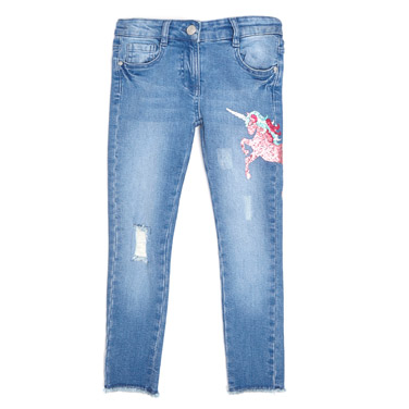 denim Younger Girls Sequin Jeans
