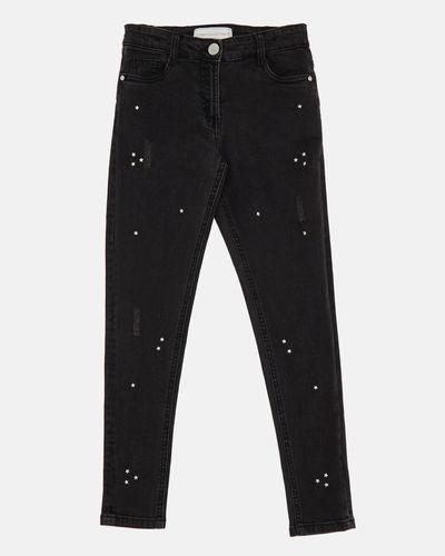 Girls Skinny Fit Star Stud Jeans (4-14 years)