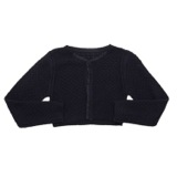 navy Younger Girls Ruffle Stitch Cardigan
