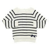 navy Younger Girls Striped Cable-Knit Jumper
