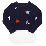 navy Younger Girls Woven Hem Knit With Badges