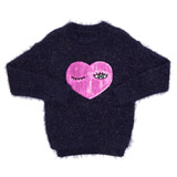 navy Younger Girls Sequin Heart Eyelash Jumper