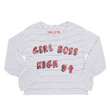 navy Younger Girls Stripe Slogan Top