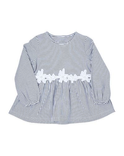 Girls Stripe Lace Top (4-14 years)