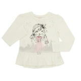cream Younger Girls Bow Back Girl Graphic Top
