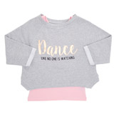 grey-marl Older Girls Twofer Dance Sweatshirt